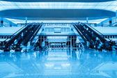 Escalator in railway station hall — Stock Photo