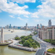 overlooking the bund in shanghai — Stock Photo