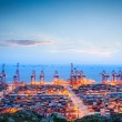 Stock Photo: Container terminal in twilight