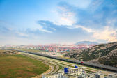 Container terminal with highway — Stock Photo