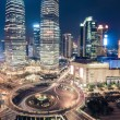 Shanghai downtown closeup at night — Stock Photo