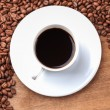 Freshly brewed espresso closeup — Foto Stock