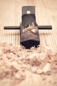 Carpentry of wood planer closeup — Stock Photo