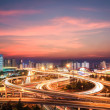 Stock Photo: Modern city interchange in nightfall