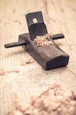 Carpentry of small wood planer closeup — 图库照片