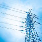 high voltage transmission pylon background — Stock Photo