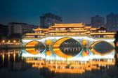 Chengdu anshun bridge at night — Stock Photo