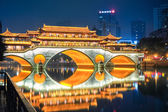 night view of  chengdu anshun bridge  — Stock Photo