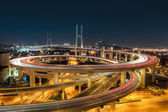 Beautiful shanghai nanpu bridge at night — Foto Stock