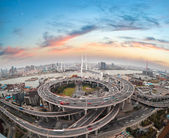 Aerial view of shanghai nanpu bridge in sunset  — Stock Photo