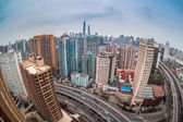 Modern city with fisheye view in shanghai — Stock Photo