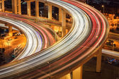 Closeup of the light trails on overpass — Foto Stock