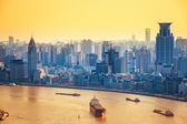 Modern city at dusk in shanghai — Foto Stock
