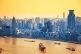 Modern city at dusk in shanghai — Stock Photo