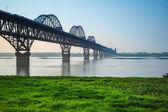 Jiujiang yangtze river bridge in spring — Stock Photo