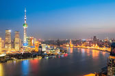 Beautiful huangpu river at night in shanghai — Stock Photo