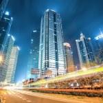 Modern city of shanghai at night — Stock Photo
