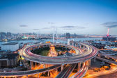 Shanghai nanpu bridge in nightfall — Stock Photo