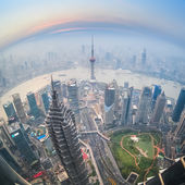 Fisheye view of shanghai at dusk — Stock Photo
