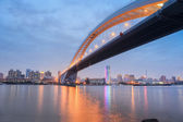 Lupu bridge in nightfall — Stock Photo
