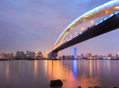 Shanghai lupu bridge across the huangpu river  — Stock Photo