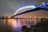 Beautiful shanghai lupu bridge at night — Foto Stock