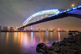 Beautiful shanghai lupu bridge at night — Stock Photo