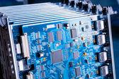 Blue motherboard closeup  — Stock Photo