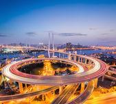 Colorful bridge in shanghai nanpu — Stock Photo