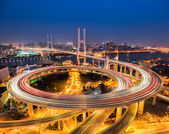 Shanghai nanpu bridge at night — Foto de Stock