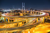 Beautiful shanghai nanpu bridge at night — Foto de Stock