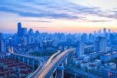 Modern city overpass at dawn — Stock Photo