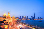 Beautiful the bund of shanghai in nightfall — Stock Photo