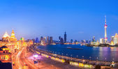 Beautiful panoramic view of shanghai in nightfall — Stock Photo