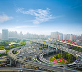City interchange in the early morning rush hour  — Foto Stock