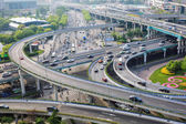 Closeup of the city interchange in the early morning rush hour  — Foto Stock