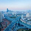 Shanghai yanan west road intersection at dusk — Stock Photo