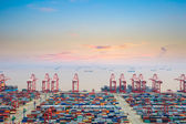 Container wharf at dusk — Stock Photo