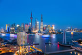 Shanghai skyline in nightfall — Stock Photo