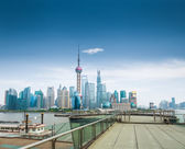 Shanghai skyline and a sightseeing platform — Stock Photo