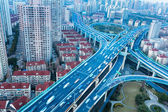 Blue elevated road junction — Stock Photo
