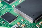 Processor with electronic circuit board closeup — Fotografia Stock