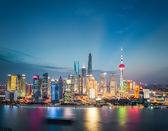 Shanghai financial district skyline in nightfall — Stock Photo