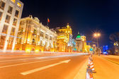 Light trails on the street in shanghai the bund — Stock Photo