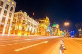 Light trails on the street in shanghai the bund — Stock Photo