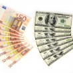 dólares y euros — Foto de Stock