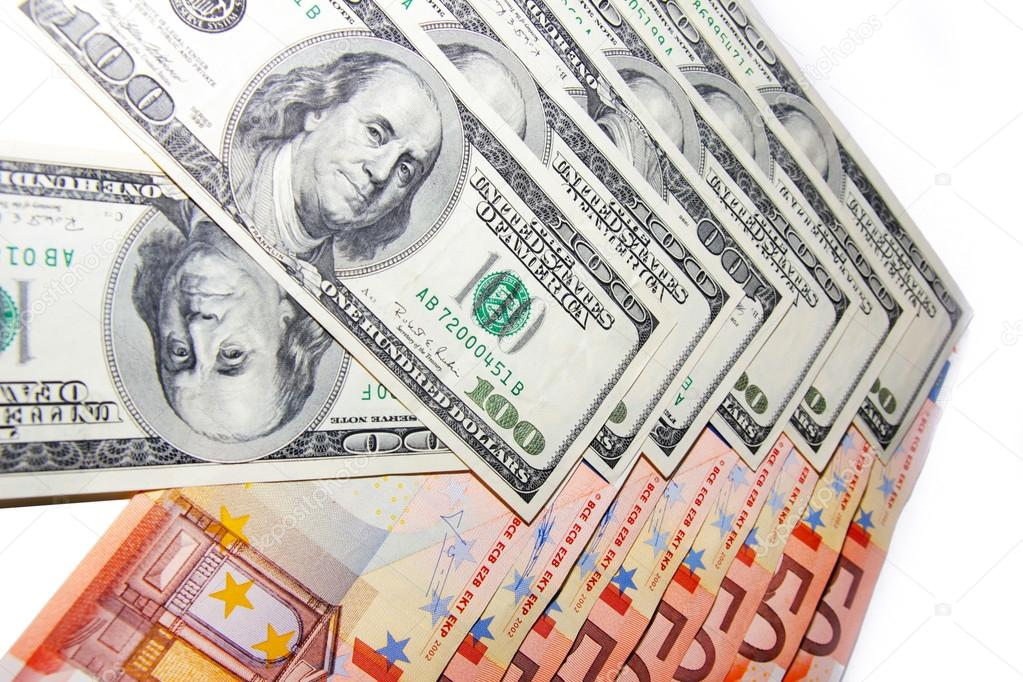 Several bills american dollar and europe euro as financial background — Stock Photo #14915451