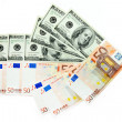 Dollars and euro - Foto Stock