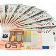 Dollars and euro — Stockfoto