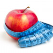 Red apple and metre — Foto Stock